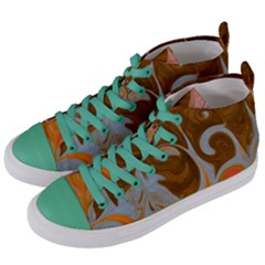 Fire And Water Women s Mid Top Canvas Sneakers by digitaldivadesigns