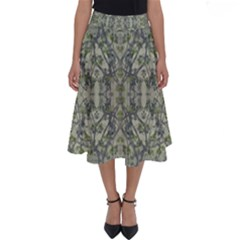 Modern Noveau Floral Collage Pattern Perfect Length Midi Skirt