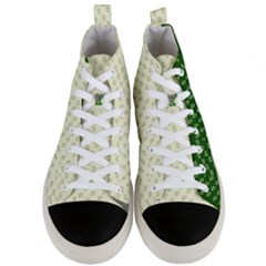 Canal Flowers Cream Pattern Cream Background Sqaured Canal Flowers Cream On Green Small Squared Canal Plaques Galore Canalsbywhackylogo1 Men s Mid Top Canvas Sneakers