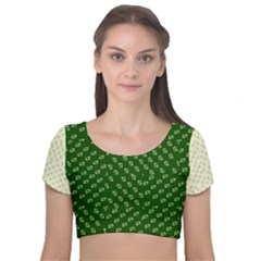 Canal Flowers Cream Pattern Cream Background Sqaured Canal Flowers Cream On Green Small Squared Canal Plaques Galore Canalsbywhackylogo1 Velvet Short Sleeve Crop Top