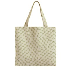 Canal Flowers Cream On Green Small Squared Canal Flowers Cream Pattern Cream Background Sqaured Zipper Grocery Tote Bag by bywhacky