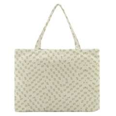 Canal Flowers Cream On Green Small Squared Canal Flowers Cream Pattern Cream Background Sqaured Zipper Medium Tote Bag by bywhacky