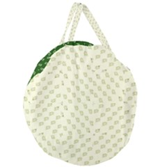 Canal Flowers Cream On Green Small Squared Canal Flowers Cream Pattern Cream Background Sqaured Giant Round Zipper Tote by bywhacky