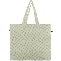 Canal Flowers Cream On Green Small Squared Canal Flowers Cream Pattern Cream Background Sqaured Canvas Travel Bag