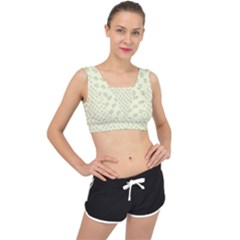 Canal Flowers Cream On Green Small Squared Canal Flowers Cream Pattern Cream Background Sqaured V Back Sports Bra