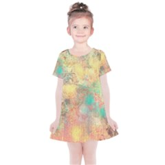 Pink Pastel Abstract Kids  Simple Cotton Dress