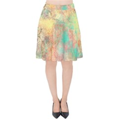 Pink Pastel Abstract Velvet High Waist Skirt