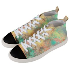 Pink Pastel Abstract Men s Mid Top Canvas Sneakers by digitaldivadesigns