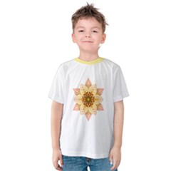 Asiatic Lily Flower Mandala Kids  Cotton Tee by flowermandalas