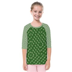 Canal Flowers Cream And Greens Kids  Quarter Sleeve Raglan Tee