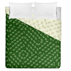 Canal Flowers Cream And Greens Duvet Cover Double Side (queen Size) by bywhacky