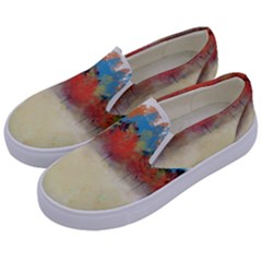 Colorful Tree Landscape In Orange And Blue Kids  Canvas Slip Ons by digitaldivadesigns