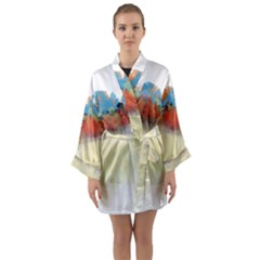 Colorful Tree Landscape In Orange And Blue Long Sleeve Kimono Robe