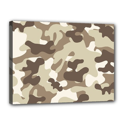 Camouflage Brown Pattern Canvas 16  X 12  by goodart