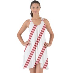Alizarin Crimson Stripes Pattern Show Some Back Chiffon Dress by goodart