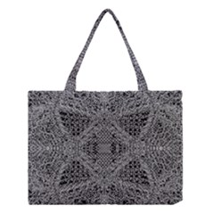 Black And White Psychedelic Pattern Medium Tote Bag by goodart