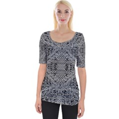 Black And White Psychedelic Pattern Wide Neckline Tee