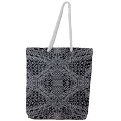Black And White Psychedelic Pattern Full Print Rope Handle Tote (large) by goodart