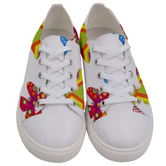 Colorful Butterflies Clipart Women s Low Top Canvas Sneakers