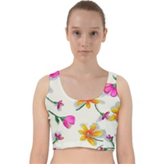 Flower Wallpaper Pattern Velvet Racer Back Crop Top by goodart