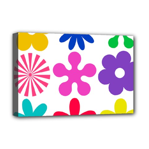 Retro Flower Ornaments Deluxe Canvas 18  X 12   by goodart