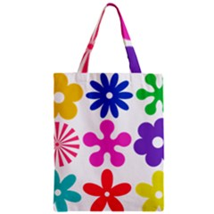Retro Flower Ornaments Zipper Classic Tote Bag by goodart