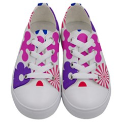 Retro Flower Ornaments Kids  Low Top Canvas Sneakers