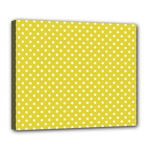 Polka Dots Yellow Deluxe Canvas 24  X 20   by goodart