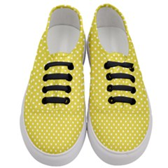 Polka Dots Yellow Women s Classic Low Top Sneakers