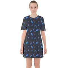 Blue Cherries Sixties Short Sleeve Mini Dress by ChihuahuaShower