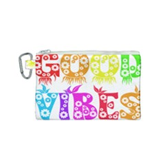 Good Vibes Rainbow Colors Funny Floral Typography Canvas Cosmetic Bag (small) by yoursparklingshop