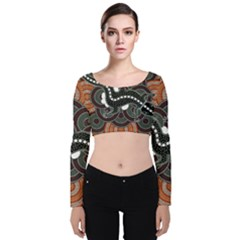 Illustration Based On Aboriginal Style Of Dot Painting Depicting Crocodile Velvet Crop Top