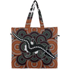 Illustration Based On Aboriginal Style Of Dot Painting Depicting Crocodile Canvas Travel Bag by goodart