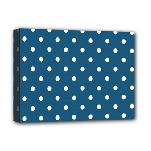 White Dot Patern Blue Deluxe Canvas 16  X 12   by goodart
