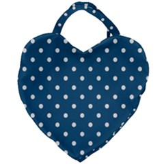 White Dot Patern Blue Giant Heart Shaped Tote