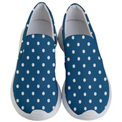 White Dot Patern Blue Women s Lightweight Slip Ons by goodart