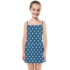 White Dot Patern Blue Kids Summer Sun Dress