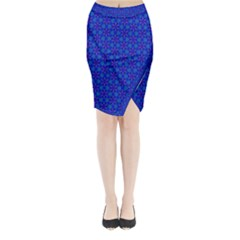 Purple Blue Pattern Background With Triangles Midi Wrap Pencil Skirt