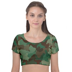 Camouflage Pattern Velvet Short Sleeve Crop Top  by goodart