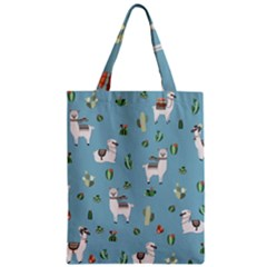 Lama And Cactus Pattern Zipper Classic Tote Bag by Valentinaart