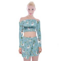 Lama And Cactus Pattern Off Shoulder Top With Mini Skirt Set