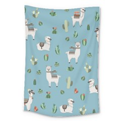 Lama And Cactus Pattern Large Tapestry
