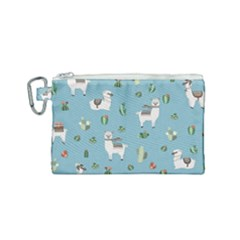 Lama And Cactus Pattern Canvas Cosmetic Bag (small)