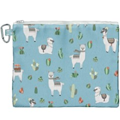 Lama And Cactus Pattern Canvas Cosmetic Bag (xxxl) by Valentinaart