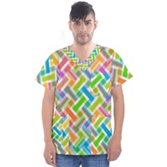 Cool Abstract Pattern Colorful Men s V Neck Scrub Top