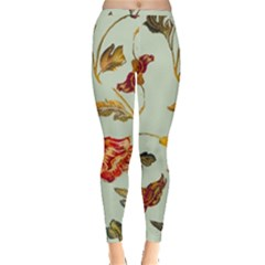 Cream And Green Background Flowers  Inside Out Leggings by bywhacky