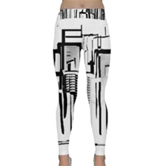 Black And White City Classic Yoga Leggings by digitaldivadesigns