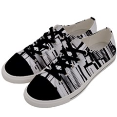 Black And White City Men s Low Top Canvas Sneakers by digitaldivadesigns