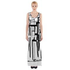 Black And White City Maxi Thigh Split Dress by digitaldivadesigns