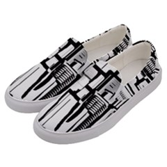 Black And White City Men s Canvas Slip Ons by digitaldivadesigns